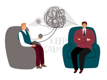 Psychotherapy counsel concept, psychotherapist doctor and male patient talking, vector illustration Vektorové ilustrace