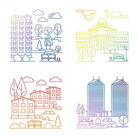 Set of line village and city landscape vector banners
