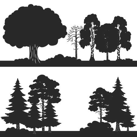 Black vector forest trees silhouettes background. Forest silhouette illustration, wood oak and evergreen