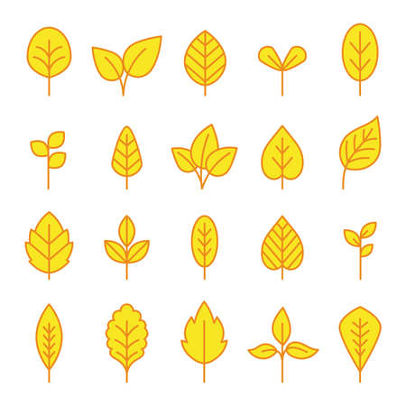 Line leaf yellow icons set on white backgound, vector illustration
