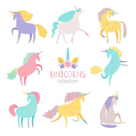 Fairytale unicorn set. Rainbow color girlish pony unicorns isolated on white background vector illustration Vecteurs