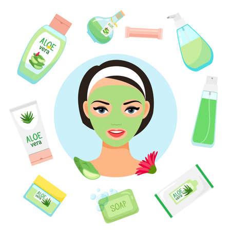 Happy girl with facial mask. Organic cosmetics vector illustration. Aloe vera mask of girl, organic cosmetic