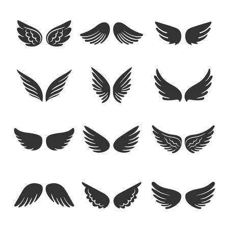Angels wings silhouettes set isolated on white background, vector illustration