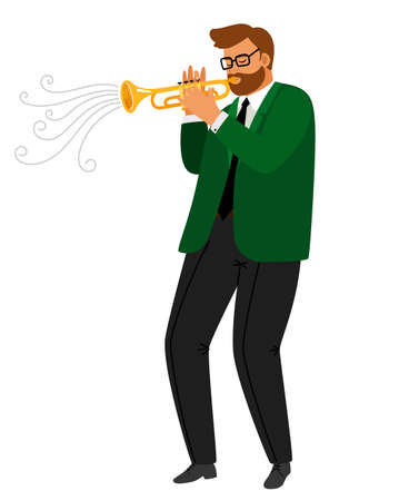 Man performance musical blues, jazz trumpeter practice enjoyment, enthusiastic hobby playing, vector illustration