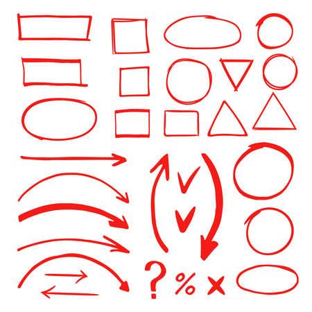 Marker hand drawn doodle elements vector illustration. Marker drawing highlighter, circle sketch stroke