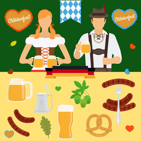 Oktoberfest icons. Germany beer festival Octoberfest colored icon vector set