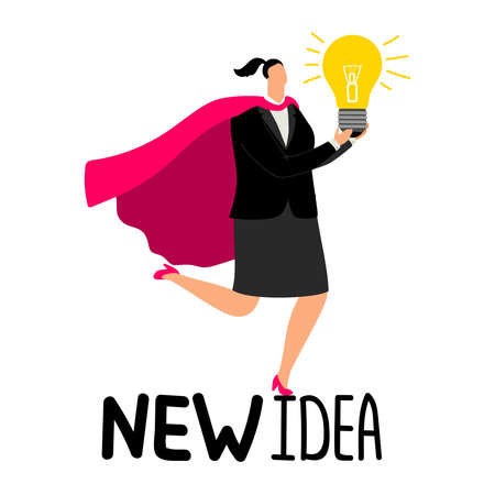 Woman in superhero cloak with light bulb - new idea vector illustration. Idea with light lamp, woman employee brainstorming