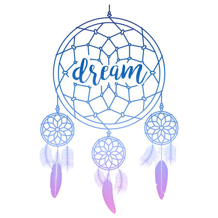 Hand drawn dream catcher with calligraphy sign dream vector illustration Vector Illustratie