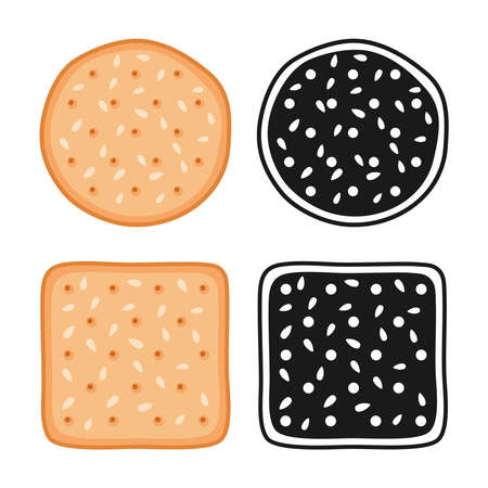 Crackers cookies with seeds, round and square, vector illustration
