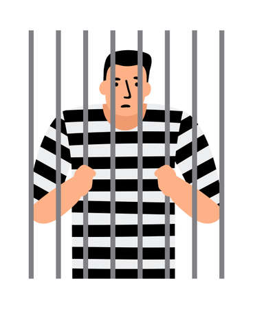 Criminal man in jail, man under arrest, behind bars, vector illustration