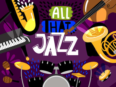 Musical live jazz band, concert of banner, bass, piano, trumpet and drum. Vector illustration