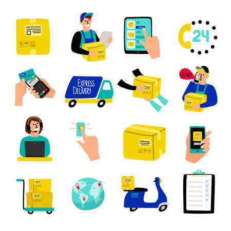 Cartoon delivery icons. Fast delivery vector illustration with quick courier and truck van, container package and warehouse cargo receiving isolated on white