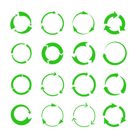 Recycling arrows. Green circles arrow biodegrade symbols, vector recycle materials cycle icons isolated on white background