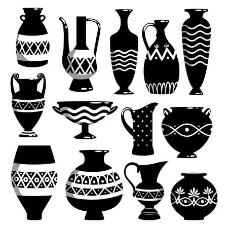 Black and white ancient ceramic bowls and vases vector illustration