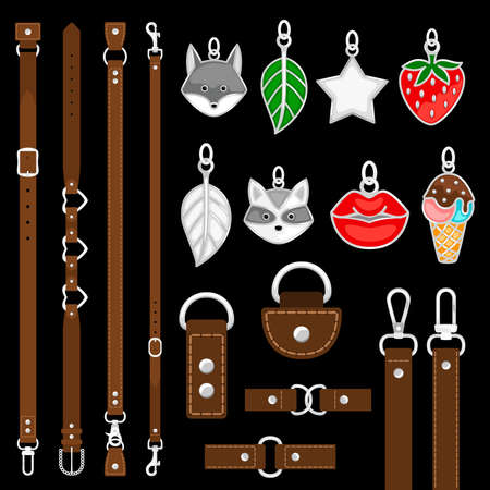 Vector leather belts, pendants, colars, belts elements isolated on black background. Illustration of belts with carabine or clasp, leather and buckle Ilustracje wektorowe
