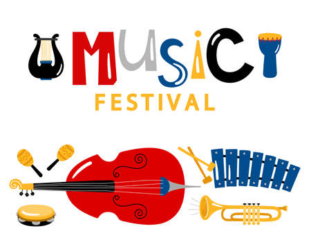Music festival banner template with vector music instruments