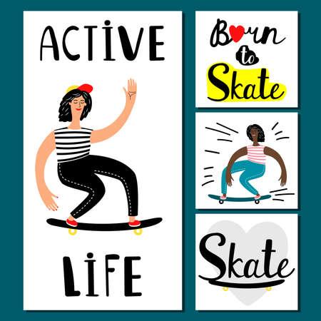 Active life girl vector banners. Teenage skateboarding illustration. Skateboard sport, lifestyle activity and healthy skateboarding Ilustración de vector