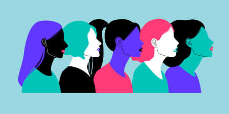 Colorful profiles of face silhouettes