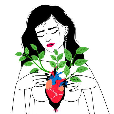 Woman with blooming heart Vettoriali