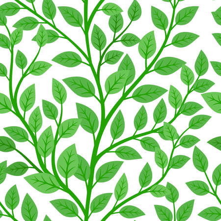Green branches tree seamless pattern Vettoriali