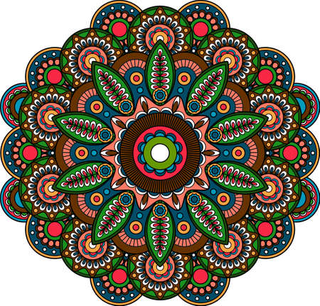Circular indian bright floral ornament mandala paisley design art