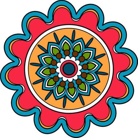 Circular decorative floral element arab round medallion Vettoriali