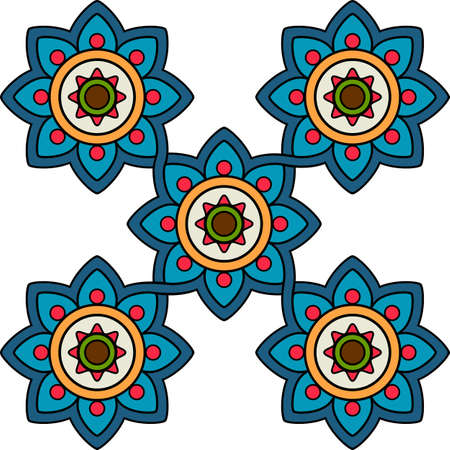 Decorative flower tile pattern geometric mosaic moroccan ceramic ornament