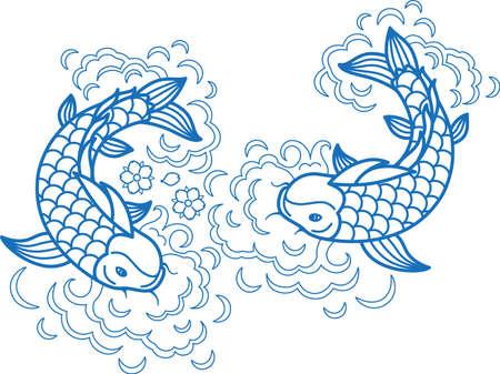 Fish koi art carp line traditional drawing japan goldfish ink element