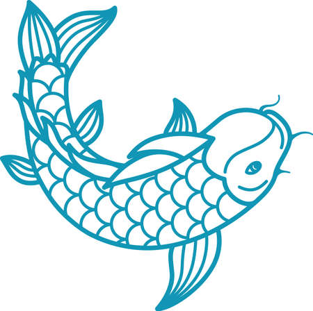 Japanese carp koi icon fish above top minimal view