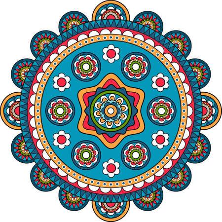 Large round floral pattern bohemian mandala indian flower motif Vettoriali