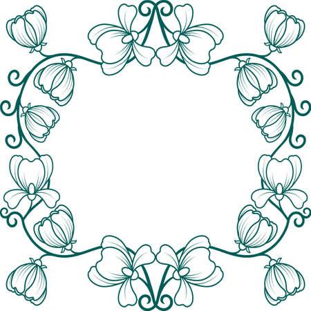 Monochrome Simple Floral Frame flower doodle wreath vintage border