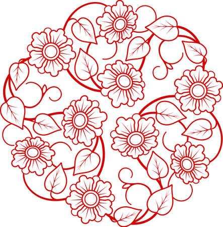 Round ornamental modern flower circle floral design ornament leaf luxury emblem