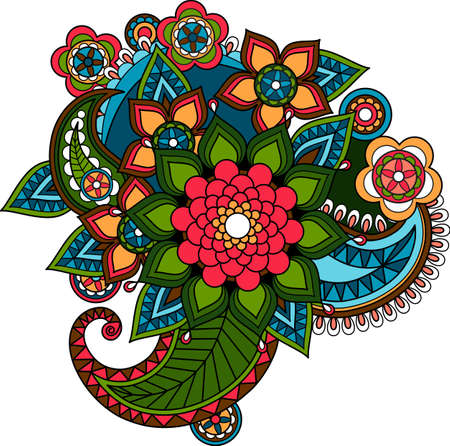 Indian decorative floral element or mexican paisley ornament design