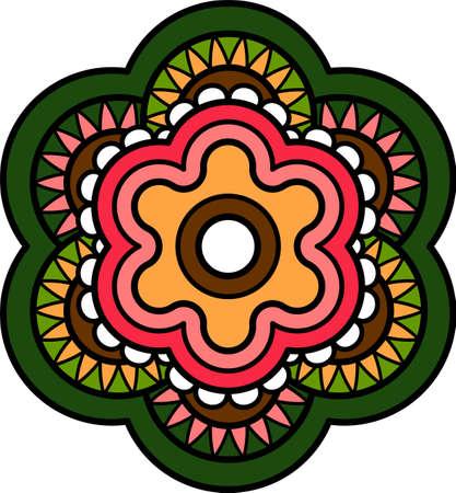 Naive art simple decorative flower floral spring pictogram Vettoriali