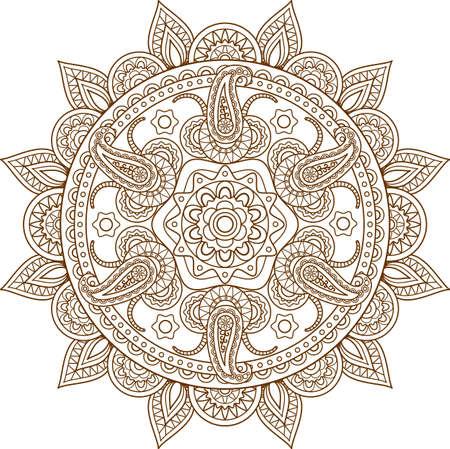 Mandala desing flower design indian mehndi icon Vettoriali