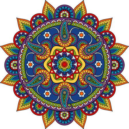Round Indian Paisley Pattern mandala meditation flower motif