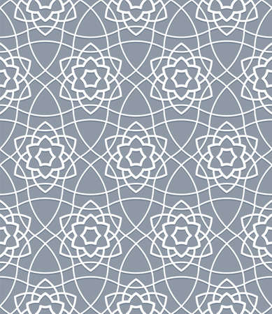 Traditional oriental muslim pattern grid geometric interlaced branches seamless curved ornament Vettoriali
