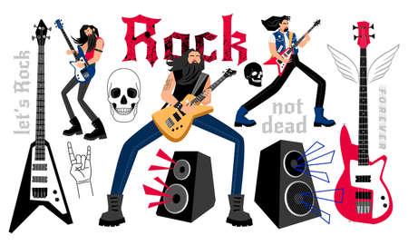Rockers party cartoon musicians