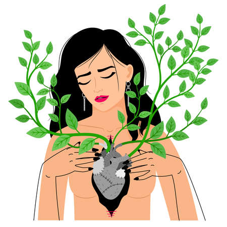 Heart in chest with branches