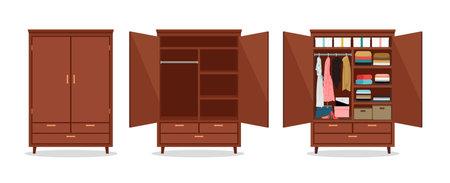Close open wardrobe Vettoriali