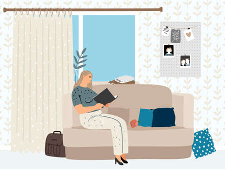 Girl reading in cozy living room