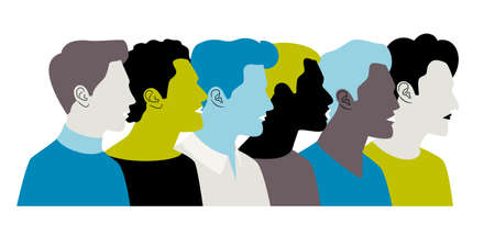 Colorful young men profiles