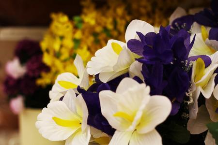 variegated: different flowers violet white blue bouquet