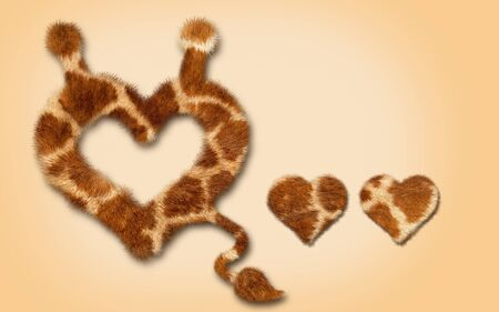heart fur, close up with tail, symbol design Stock Photo