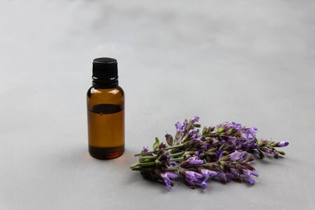 Dark amber glass bottle full of Essential oil and clary sage flowers, salvia sclarea, for aromatherapy. Naturopathy, wildflowers extract fragrance