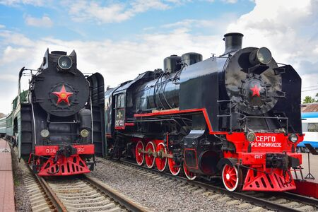 Moscow / Russia - May 26, 2019: two black and red rare steam locomotives in a museum at the Riga station Editöryel