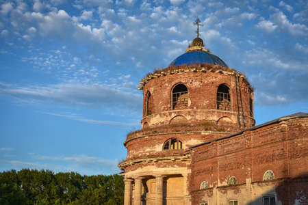 old brick Christmas church village of Istier