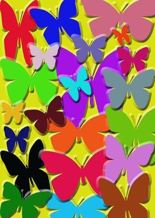 Multicolored butterflies created in .