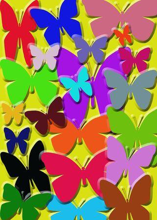 Veelkleurige vlinders in.