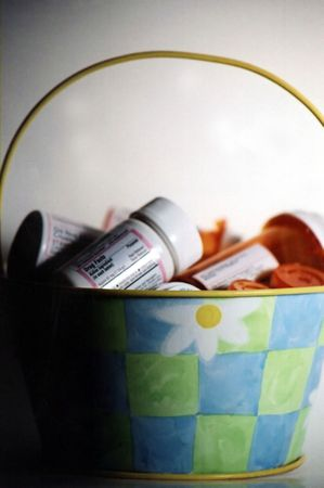 malady: Basket of prescription medications. Stock Photo